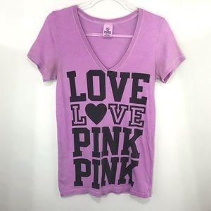 Victoria Secret Pink Purple Graphic V Neck Tee Med